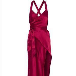 New with tags Michelle Mason silk-satin wrap gown